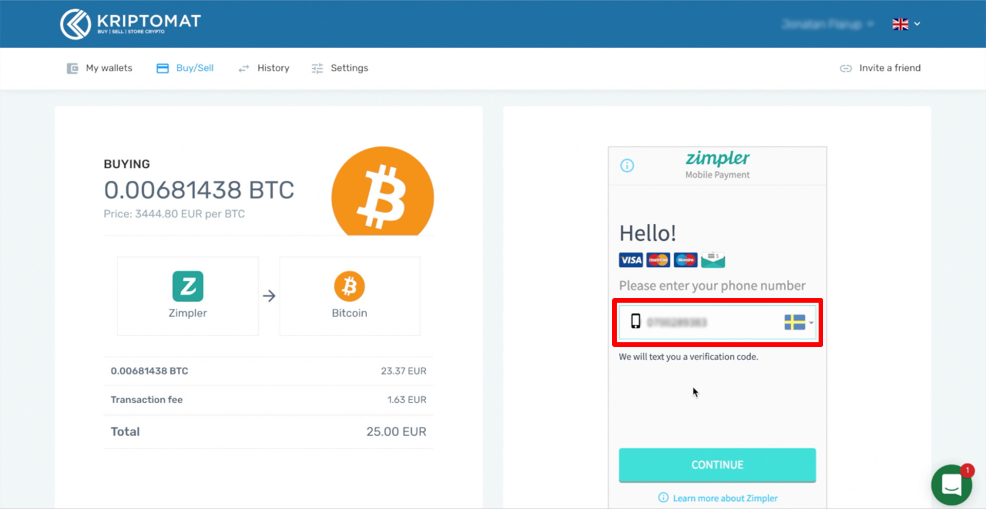 buy crypto with zimpler tutorial 6