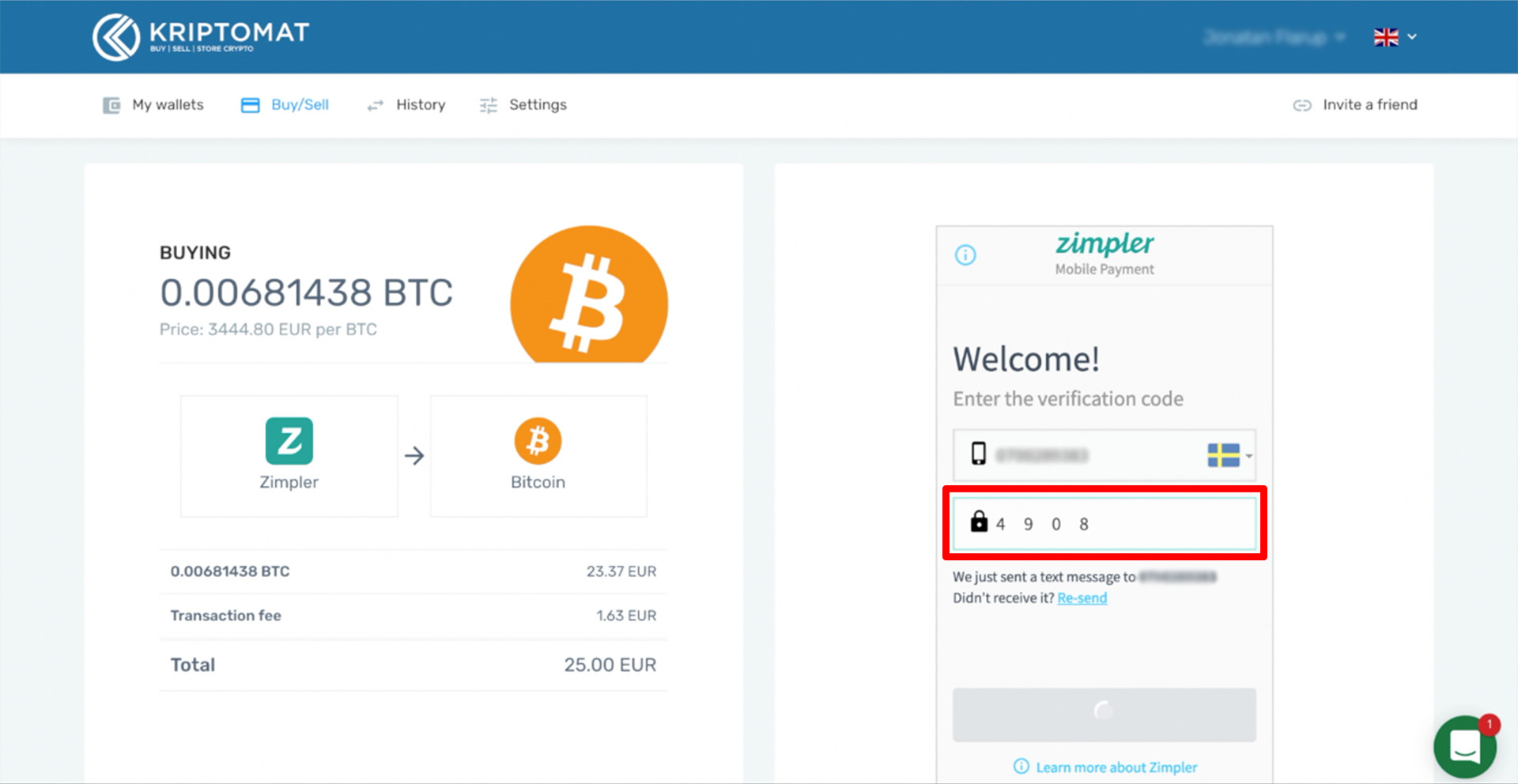 buy crypto with zimpler tutorial 7