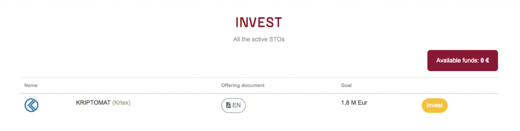 Kriptomat STO investment on Desico