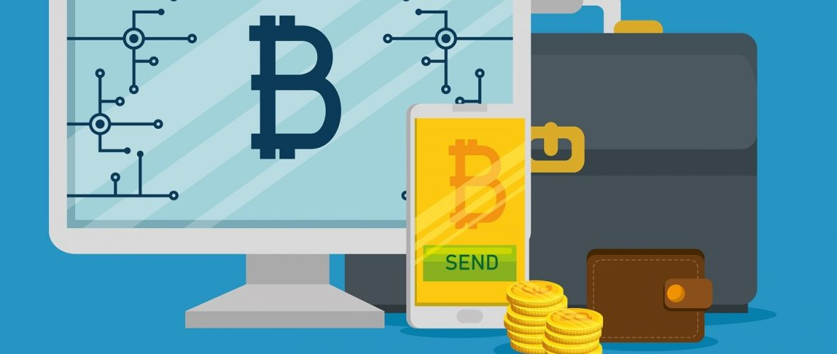 computer an smartphone with virtual bitcoin currency vector illustration