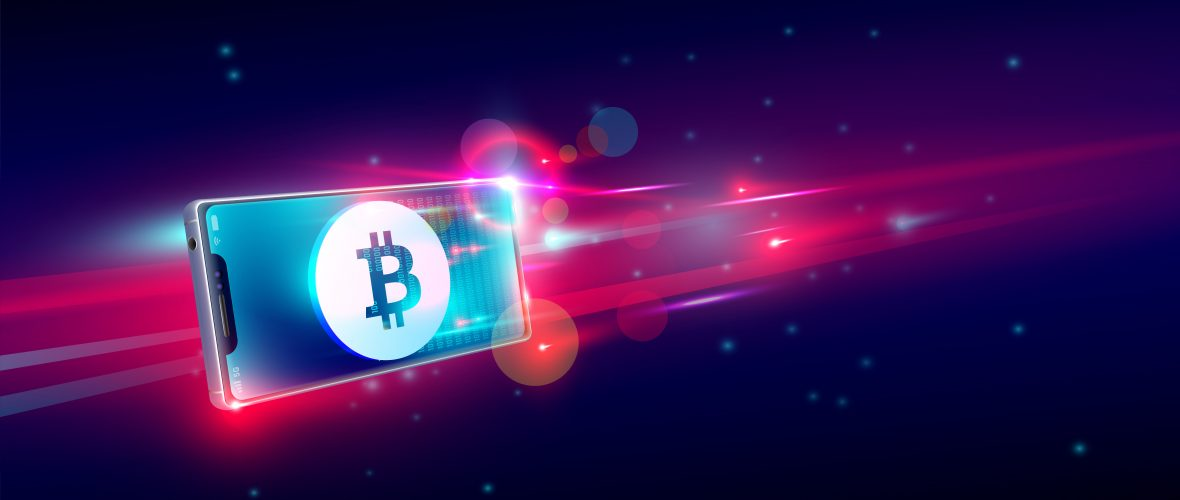cryptocurrency buy or trading on flying smartphone, bite coin wa